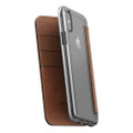 Nomad Horween Leather Clear Wallet Folio case - iPhone X/XS, Rustic Brown