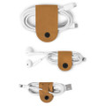 Twelve South CableSnap - Genuine leather cable organisers, Cognac Brown