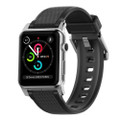 Nomad Rugged Strap for Apple Watch 42mm/44mm, Black Silicone with Silver hardware