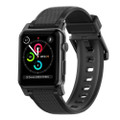Nomad Rugged Strap for Apple Watch 42/44mm, Black Silicone with Black hardware