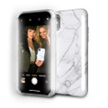 LuMee Duo - protective case with front and back facing lights - for the perfect selfie or video – iPhone X, White Marble