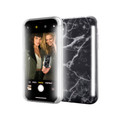 LuMee Duo - protective case with front and back facing lights - for the perfect selfie or video, iPhone X / XS, Black Marble