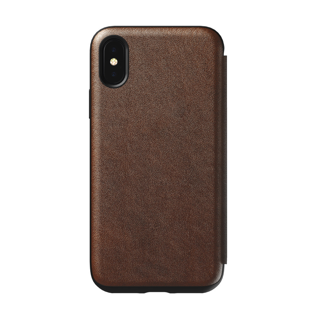 more photos e113c 4bf7d Nomad Horween Leather Rugged Tri-Folio Wallet case - card and cash slots -  iPhone X/XS, Rustic Brown