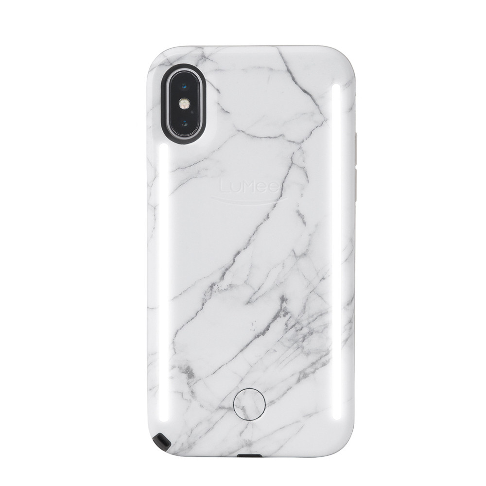 info for abee0 1a546 LuMee Duo - protective case with front and back facing lights - for the  perfect selfie or video, iPhone XS Max, White Marble