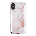 LuMee Duo - protective case with front and back facing lights - for the perfect selfie or video, iPhone XS Max, Metallic Rose White Marble