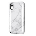 LuMee Duo - protective case with front and back facing lights - for the perfect selfie or video, iPhone XR, White Marble
