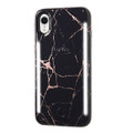 LuMee Duo - protective case with front and back facing lights - for the perfect selfie or video, iPhone XR, Rose Black Marble