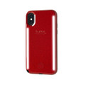 LuMee Duo Glitter - protective case with front and back facing lights - for the perfect selfie or video, iPhone XS Max, Red