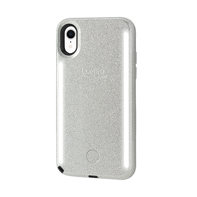 new product 8a445 ae6a2 LuMee Duo Glitter - protective case with front and back facing lights - for  the perfect selfie or video, iPhone XR, Silver