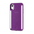 LuMee Duo Glitter - protective case with front and back facing lights - for the perfect selfie or video, iPhone XR, Purple