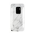 LuMee Duo - protective case with front and back facing lights - for the perfect selfie or video, Galaxy S9 Plus, White Marble