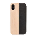 Woodcessories - EcoFlip - genuine wood and leather flipcase - iPhone X/XS, Maple and Black