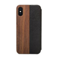 Woodcessories - EcoFlip - genuine wood and leather flipcase - iPhone X/XS, Walnut and Black