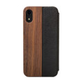 Woodcessories - EcoFlip - genuine wood and leather flipcase - iPhone XR, Walnut and Black