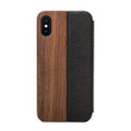Woodcessories - EcoFlip - genuine wood and leather flipcase - iPhone XS Max, Walnut and Black