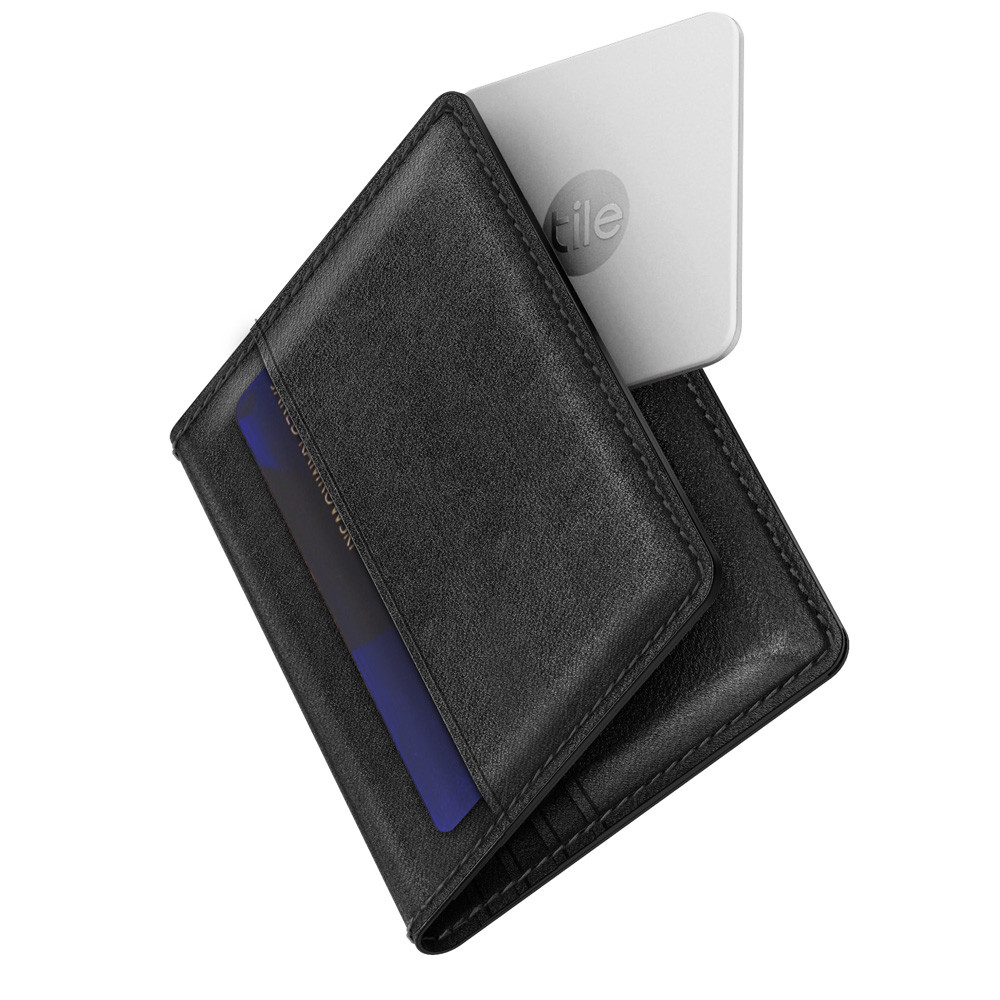 low cost 96b92 49383 Nomad Slim Wallet - Genuine horween leather with Tile Slim Bluetooth  tracker - card and case pockets, Black