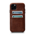 Sena Snap On Wallet Case - genuine leather case with card pockets - iPhone 11 Pro, Cognac Brown