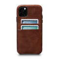 Sena Snap On Wallet Case - genuine leather case with card pockets - iPhone 11 Pro Max, Cognac Brown