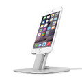Twelve South HiRise Deluxe - Adjustable metal Desktop Stand/Dock with lightning and micro USB cable - iPhone 5/SE/6/6s/7 & iPad Mini, Silver