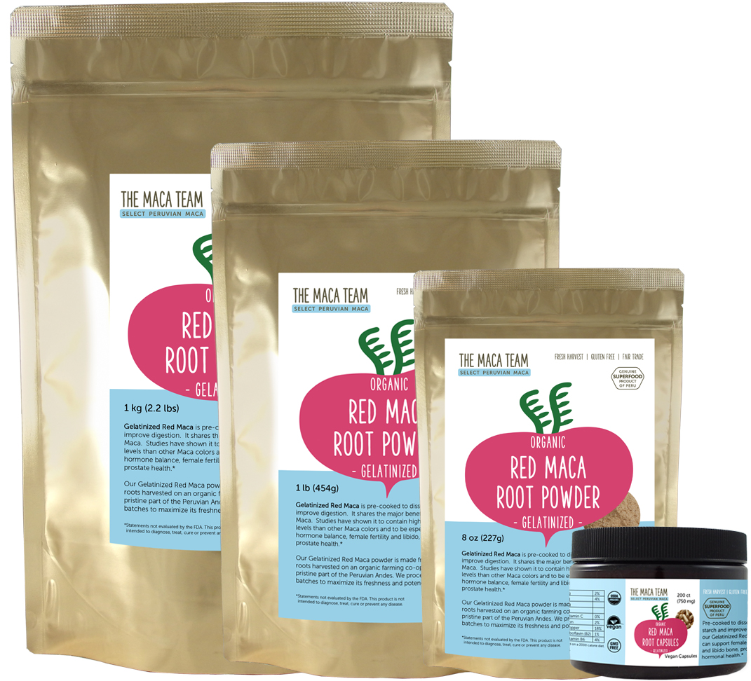 gelatinized red maca root products from The Maca Team