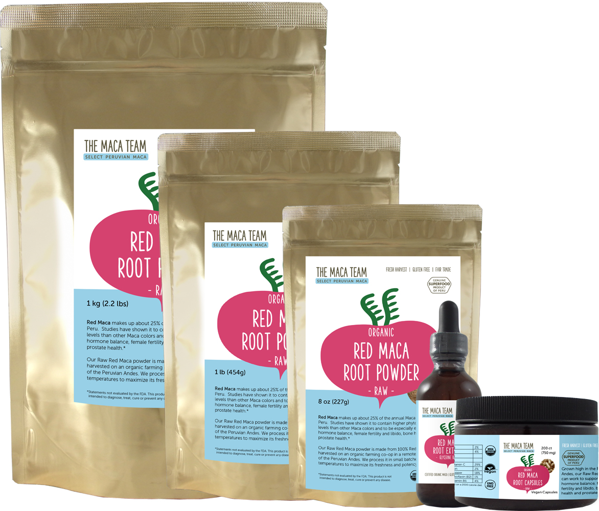 raw red maca root products from The Maca Team