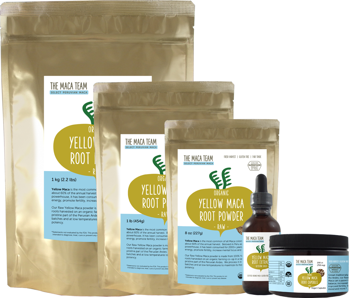 raw yellow maca products