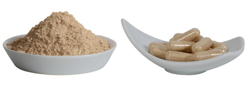 raw yellow maca powder and capsules