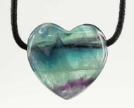 Rainbow Fluorite Drilled Heart Pendant 23