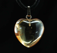 Golden Aura Quartz Heart Pendant