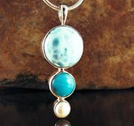 Larimar Amazonite Pearl Pendant 35