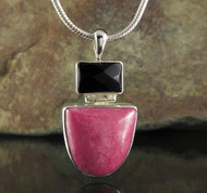 Rhodonite Black Agate Pendant 9