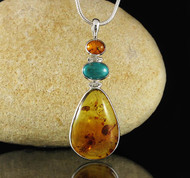 Amber Turquoise Pendant 18