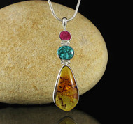 Amber Turquoise Ruby Pendant 19