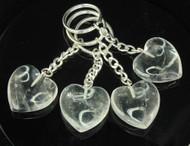 Clear Quartz Heart Keyrings
