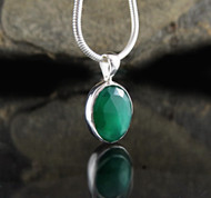 Green Chalcedony Faceted Pendant 8