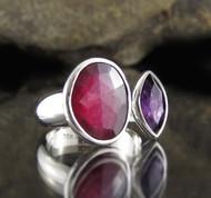 Ruby Amethyst Sterling Silver Ring
