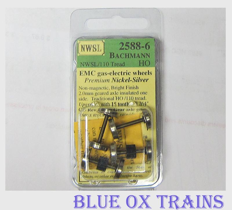 NWSL #2588-6 HO Bachmann Gas Electric Geared Axle Wheels