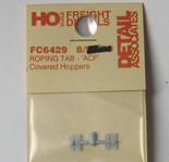 Detail Associates 6429 Roping Tabs ACF Center Flow Covered Hopper pkg(8) HO Scale