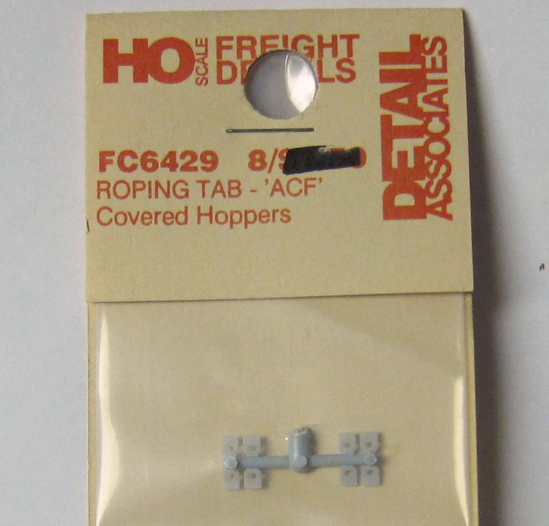Detail Associates 6429 Roping Tabs ACF Center Flow Covered Hopper pkg(8) HO Scale