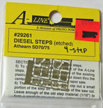 A-Line 29261 HO Scale Etched Brass Diesel Steps Athearn SD70 SD75