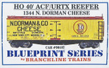 BRANCHLINE BLUEPRINT HO 40' ACF/URTX REEFER DORMAN CHEESE KIT #1344