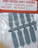 Cannon 1020 HO Scale Detail Part EMD Plain & Latched Hood Doors pkg(8)