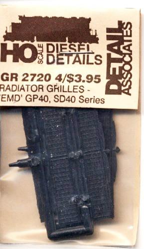Detail Associates 2720 Radiator Grilles - EMD GP40 Series HO Scale