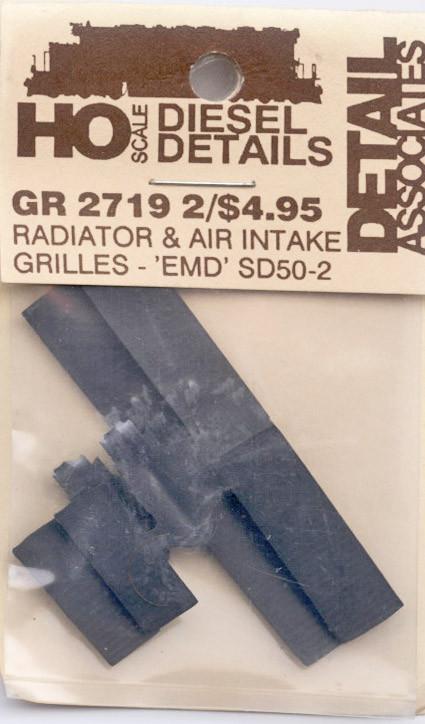 Detail Associates 2719 Radiator Grilles - SD40-2 Radiators & Air Intake  Grilles pkg(2) HO Scale