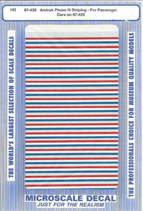 Microscale Decal 87-428 Amtrak Passenger Car Stripes (1980-1996) use with 87-426-Passenger Car - Phase III - Stripes
