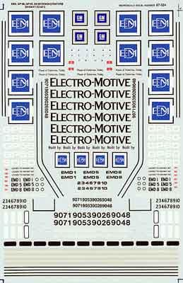 """Microscale Decal 87-524 EMD Diesels-""""Diesel - Demonstrator - GP59, GP60 Oakway Leasing"""""""