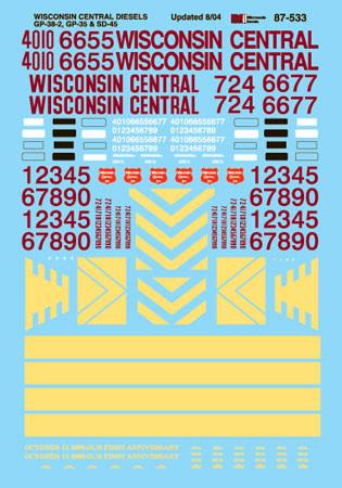 Microscale Decal 87-533 Wisconsin Central Diesels (1987-2001)-Diesel