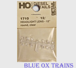 "Detail Associates 1710 Headlight Lenses pkg(12) 12"" (.138"") Diameter Ho Scale"