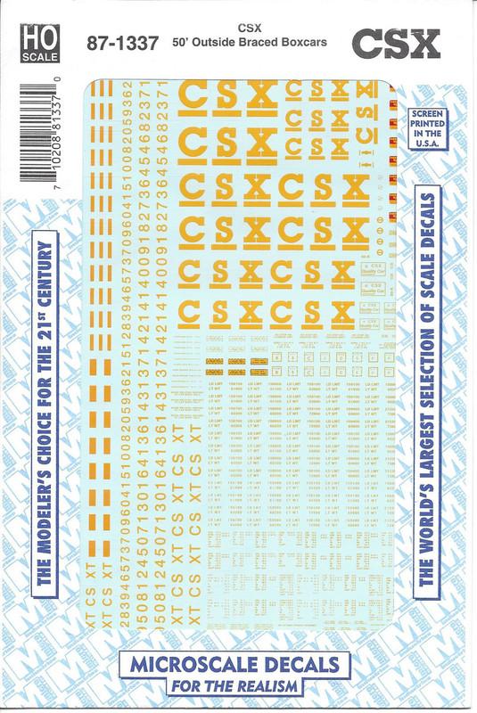 Microscale Decal 87-1337 CSX 50' Boxcar HO Scale