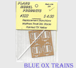Plano Model 322 Thrall 48' Well Dbl Stk Replacement Stanchions Painted TTX Yellow Wm. K. Walthers car - 8 per pkg Ho Scale